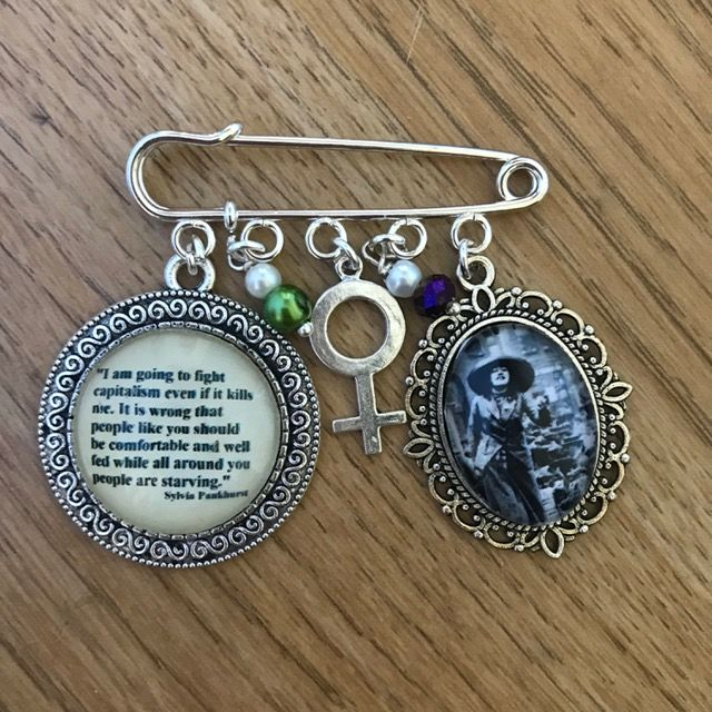 Syliva Pankhurst Quotation Pin Brooch
