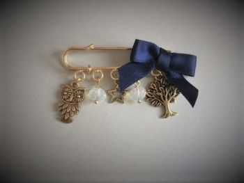 Midnight Owl Pin Brooch with Moonstone Crystal Beads