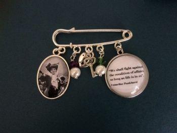 """Emmeline Pankhurst """"We shall fight against"""" Pin Brooch"""