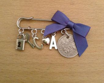 Wedding Personalised Lucky Sixpence Pin Brooch