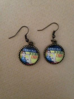 A Woman's Place is in her Union - Rosie the Riveter Earrings