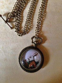 White Rabbit Pocket Watch Necklace