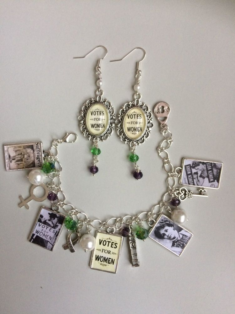 Votes for Women Charm Bracelet & Earrings Set