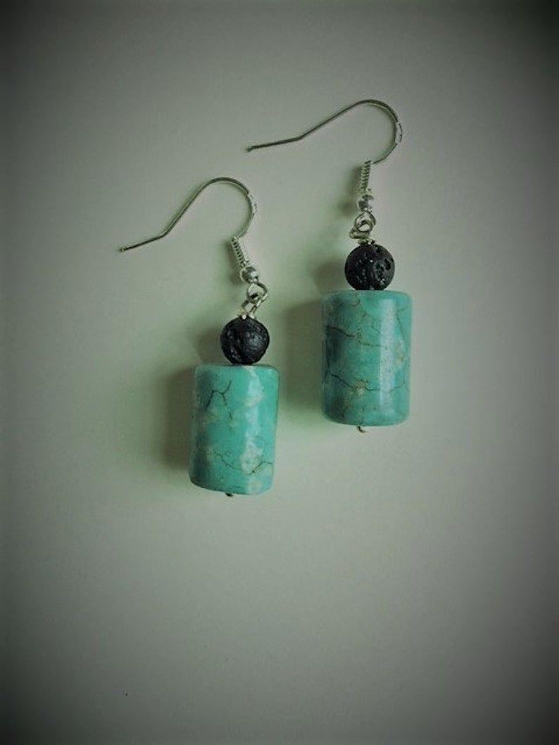 Turquoise Howlite & Black Lava Bead Earrings