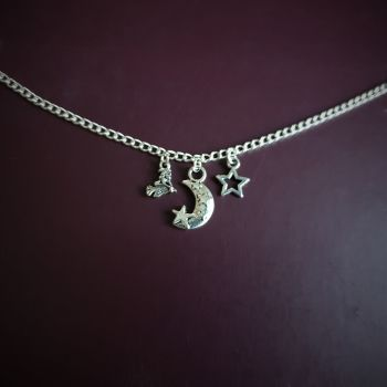 HALLOWEEN !!!  Witch Moon & Star Necklace