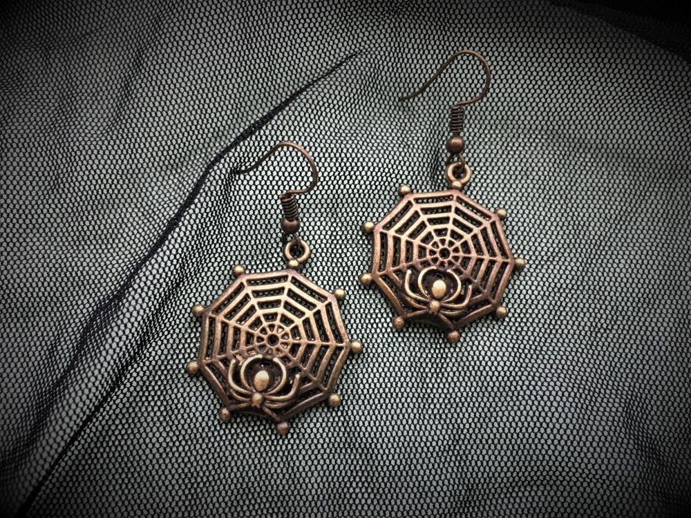 HALLOWEEN!  Bronze Cobweb Earrings