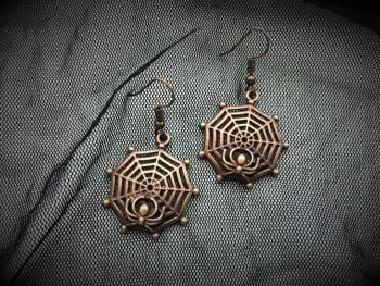 HALLOWEEN!  Bronze Cobweb Earrings
