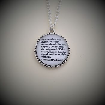 """Christabel Pankhurst """"Dignity of Womanhood"""" Quote Necklace"""