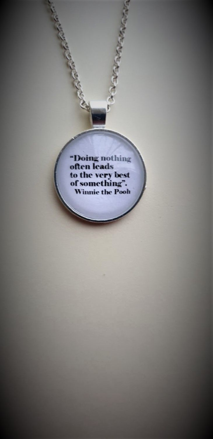 Silverplated Necklace with Winnie the Pooh Quote