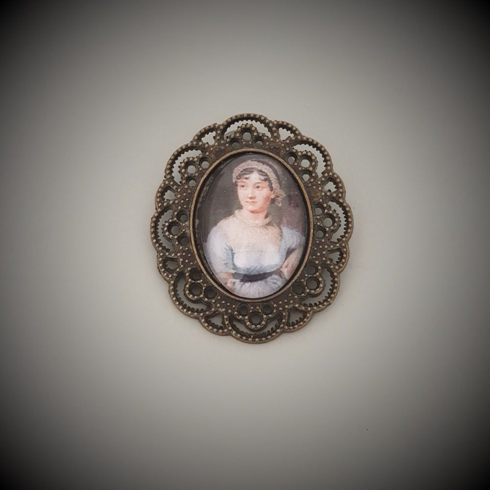 Jane Austen Brooch in Bronze