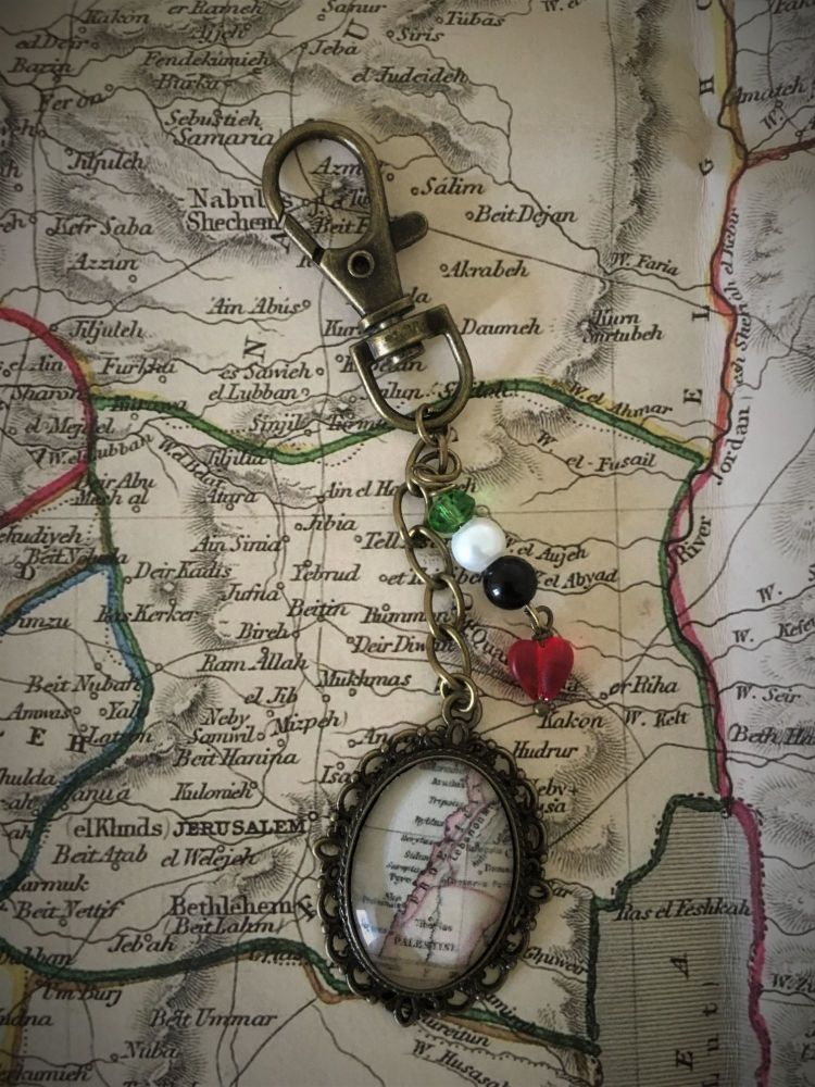 Vintage Palestine map Keyring / Keychain - Donation to MAP