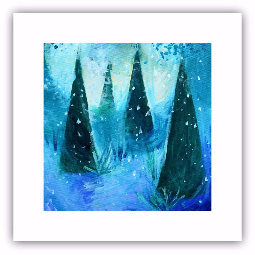 Square Art Card - Winter Trees