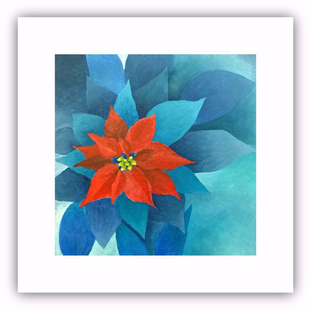 Square Art Card - Poinsettia