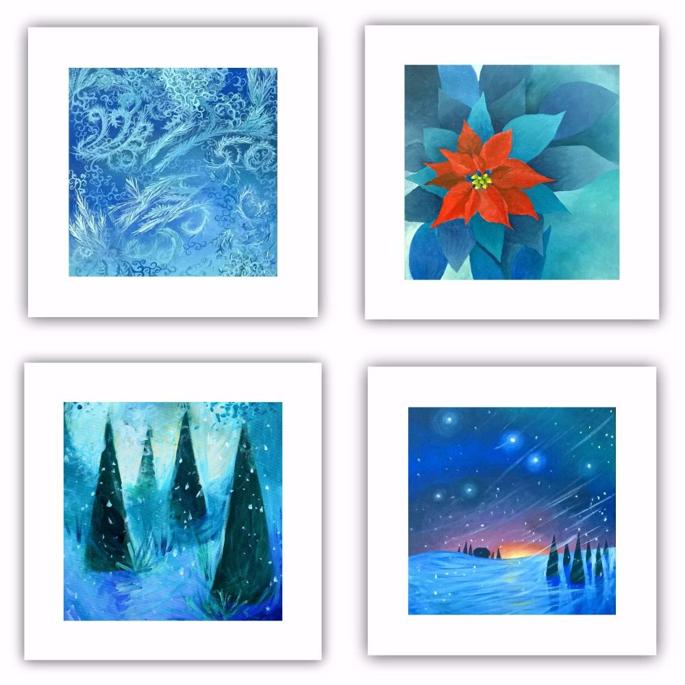 Set of Four Square Cards - Winter Theme