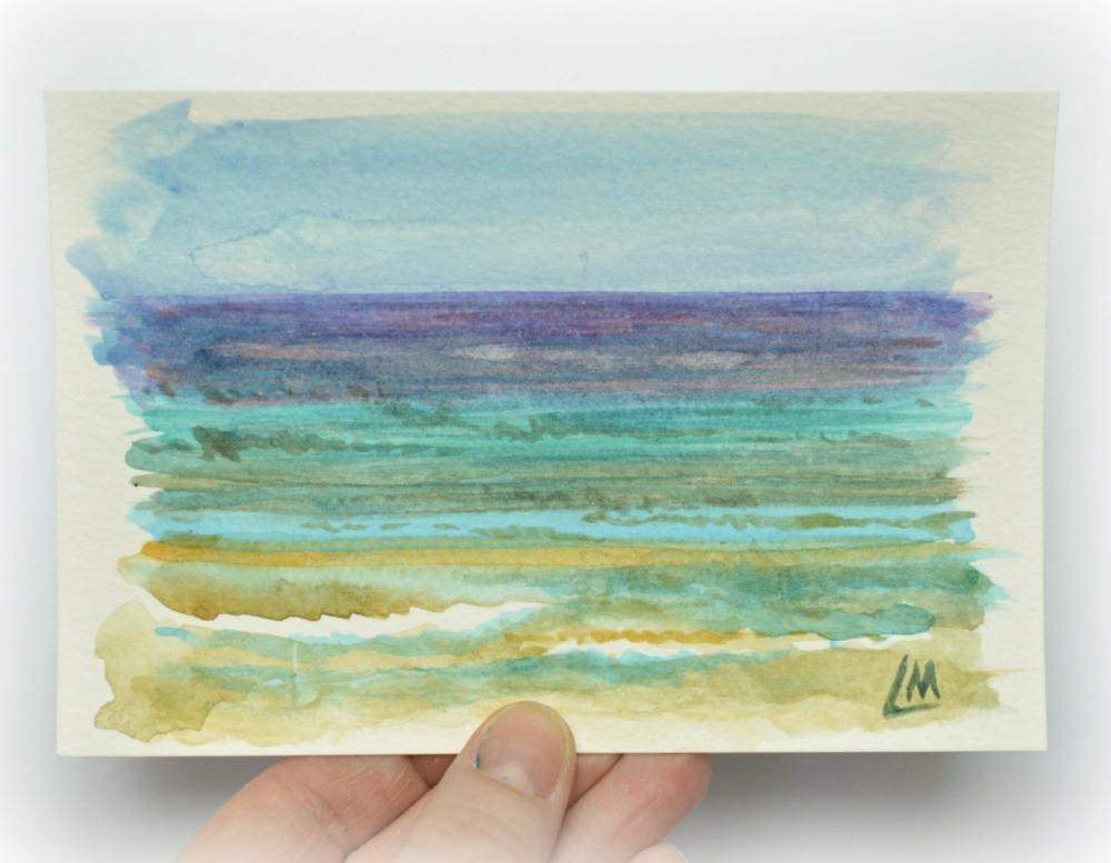 Sea Palling - sea study postcard
