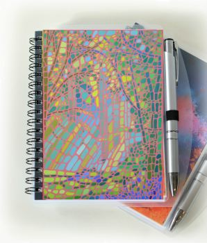 Mosaic Notebook and Silver Pen