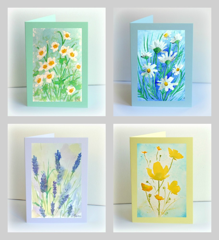 Set of 4 Watercolour Flowers Cards
