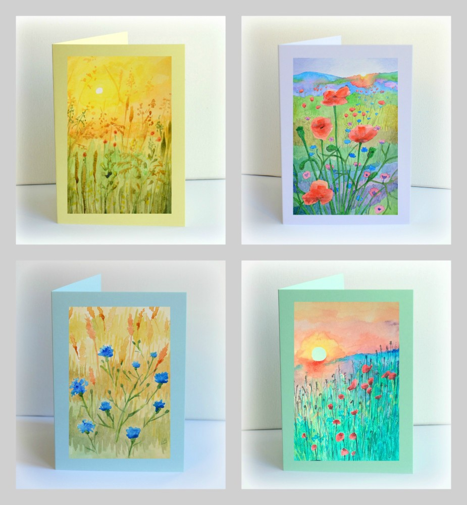 Set of 4 Watercolour Meadows Cards