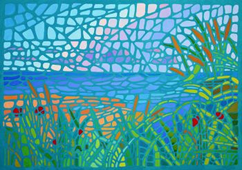Mosaic Style Painting of Winterton Beach, Norfolk