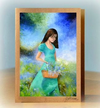 Collecting Bluebells Greetings Card
