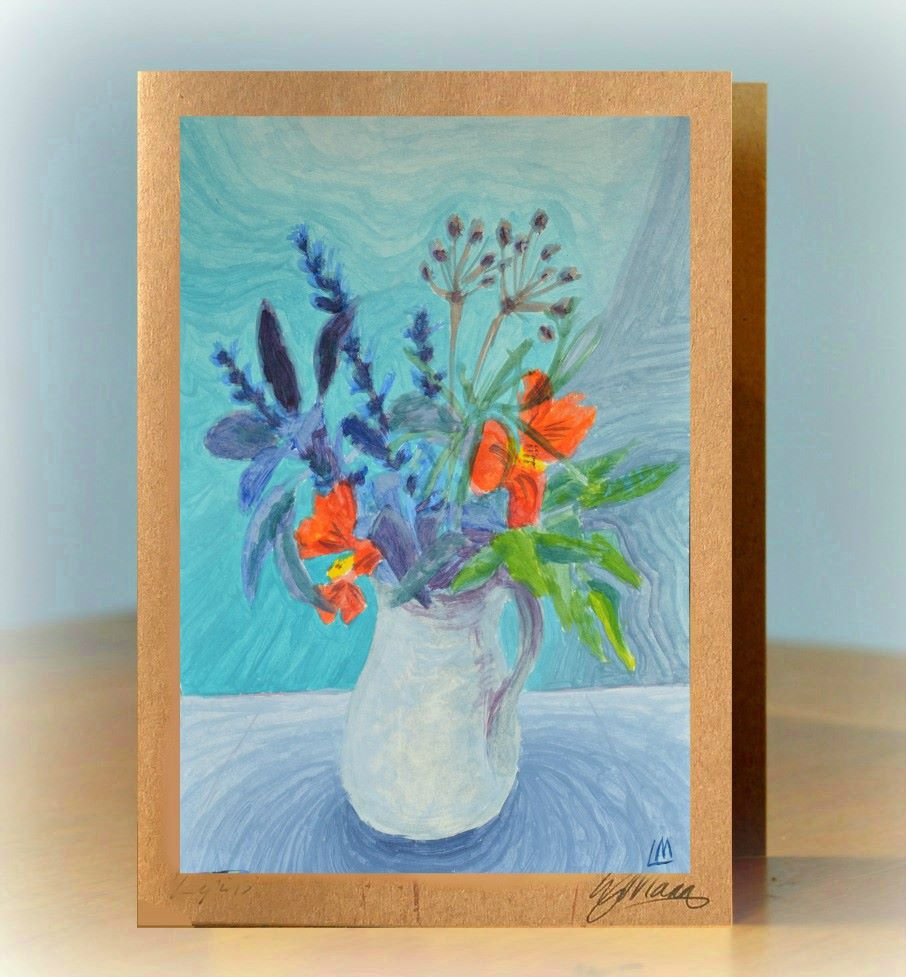 Jug of Flowers Greetings Card