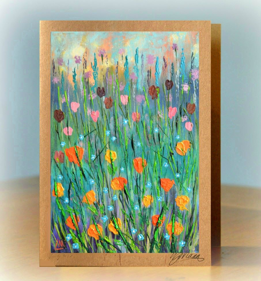 Orange Poppies Greetings Card