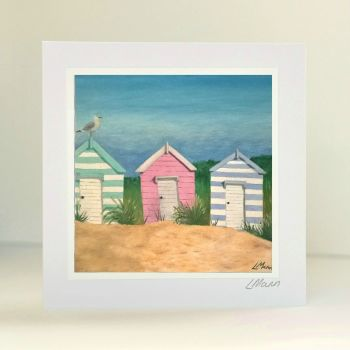 Beach Huts Greetings Card