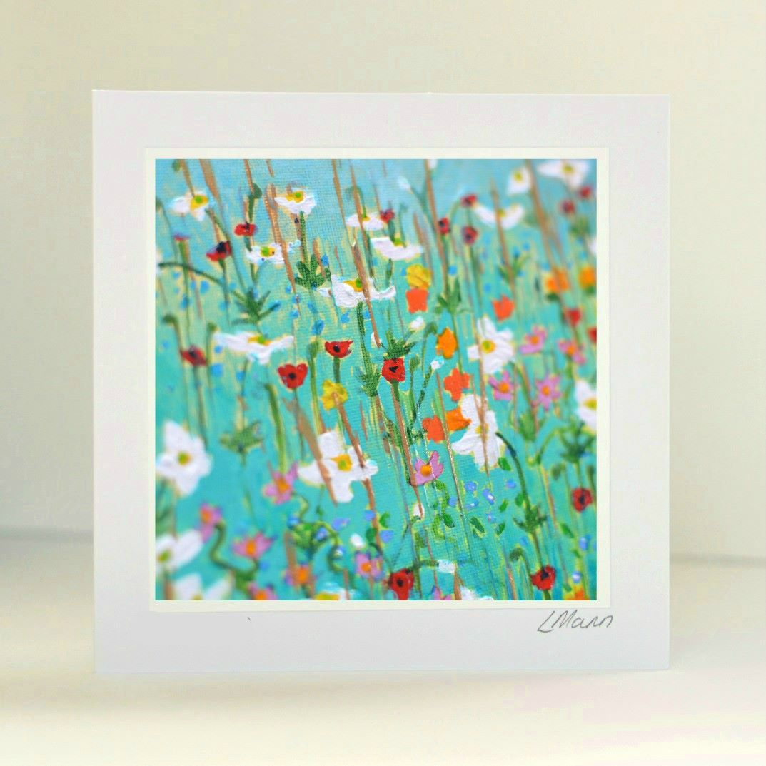 Turquoise Meadow Greetings Card