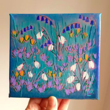 Snowdrops and Bluebells Original Painting