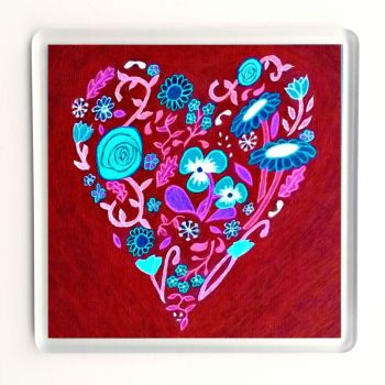 Red Heart of Flowers Coaster