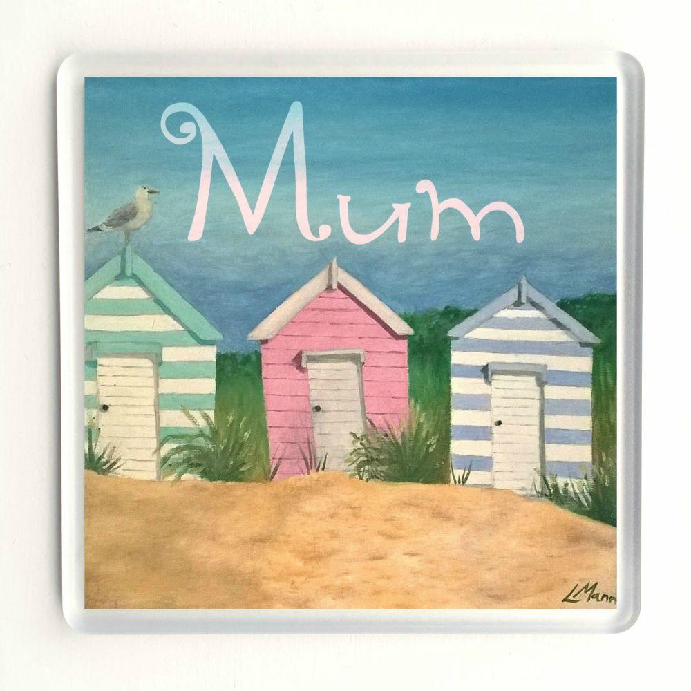 Beach Hut Coaster - Mum