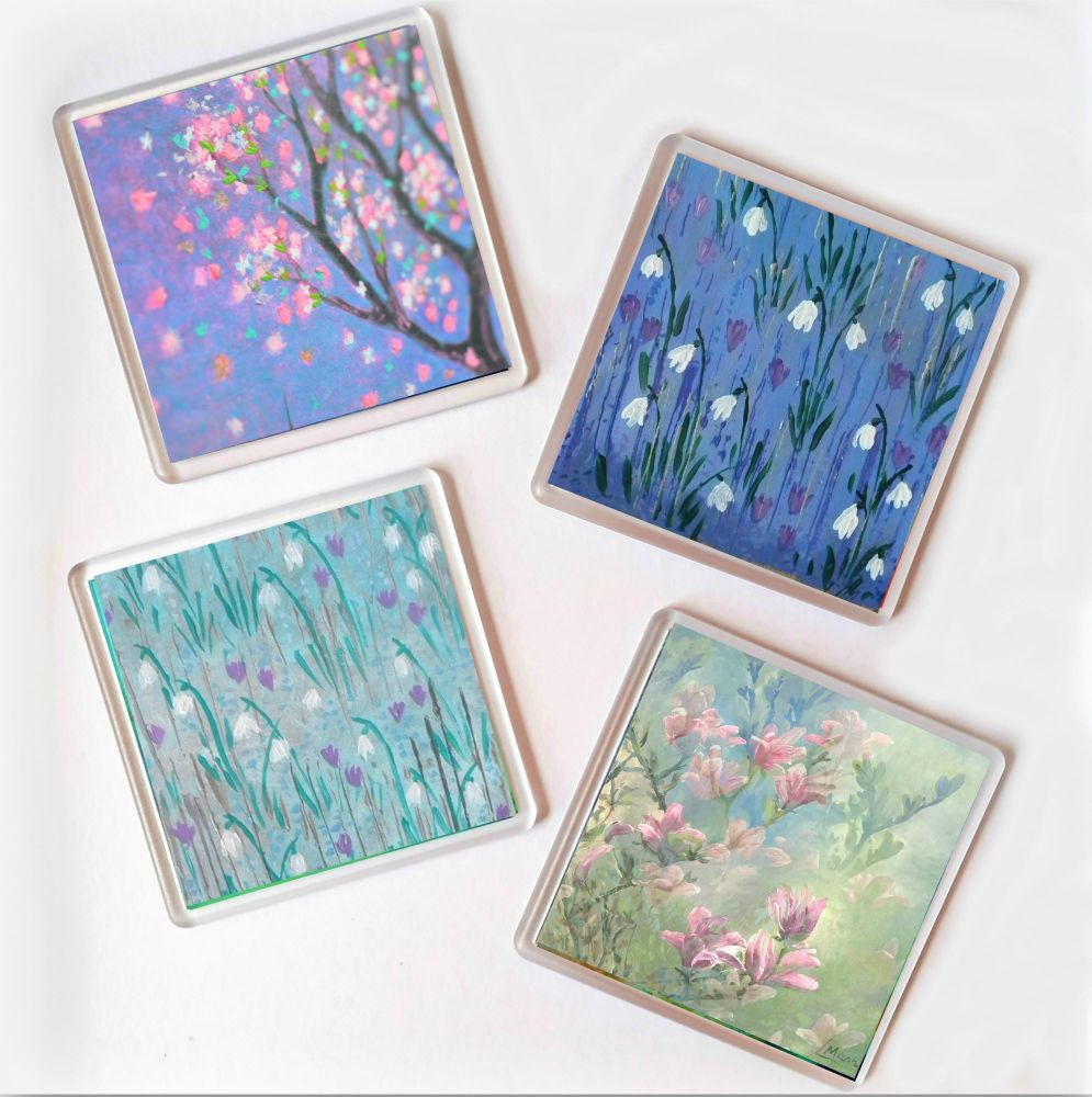 Coasters - Set of 4 Spring Themed Coasters