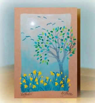 Gift of Art - Unique Handpainted card - you choose the flowers/theme