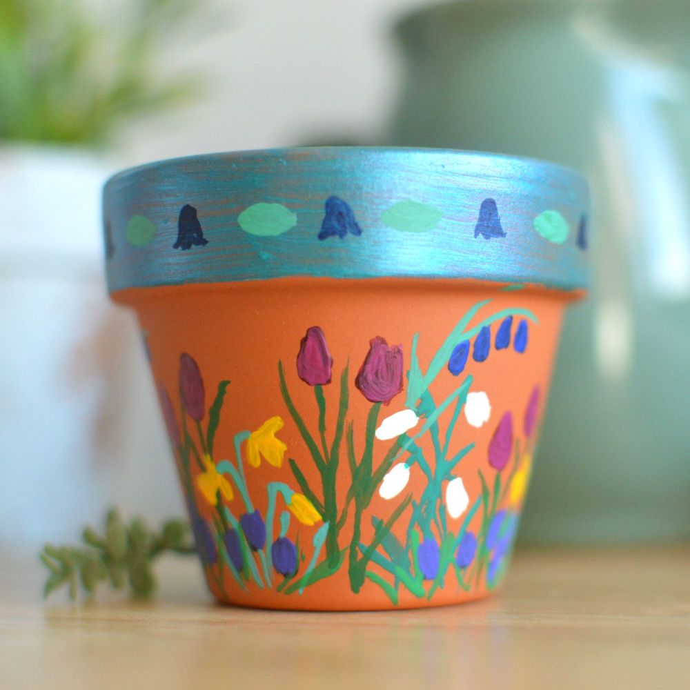 Handpainted Mini Flowerpot - Bluebells Design