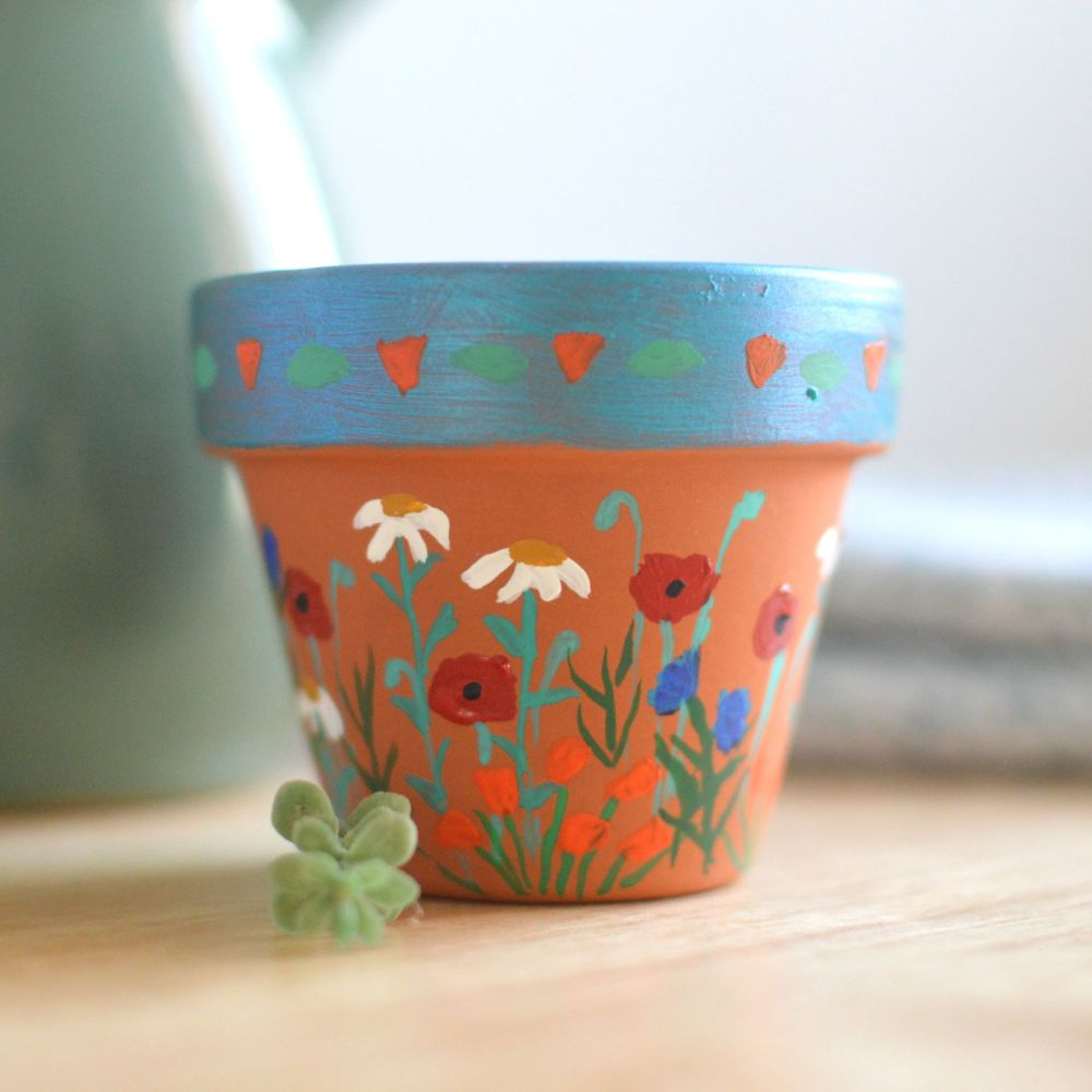 Handpainted Mini Flowerpot - Poppy Design