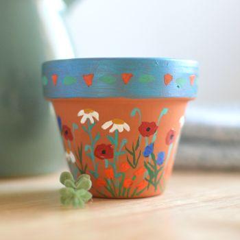 Painted to Order - Mini Flowerpot - Poppy Design