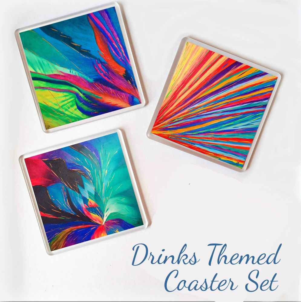 Drinks Themed Coasters - Set of Three