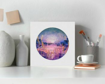 Lake Greetings Card - Pink and Gold