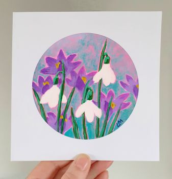 Snow Drops Hand Painted Card