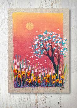 Spring Scene on Linen Panel