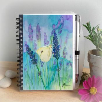 Butterfly and Lavender Notebook and Silver Pen