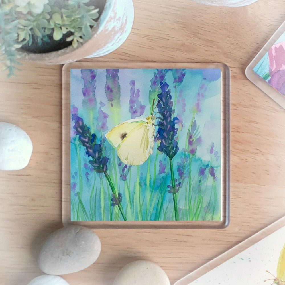 Butterfly and Lavender Coaster