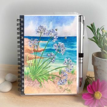 Agapanthus by the Sea Notebook and Silver Pen