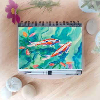 Koi Notebook and Silver Pen