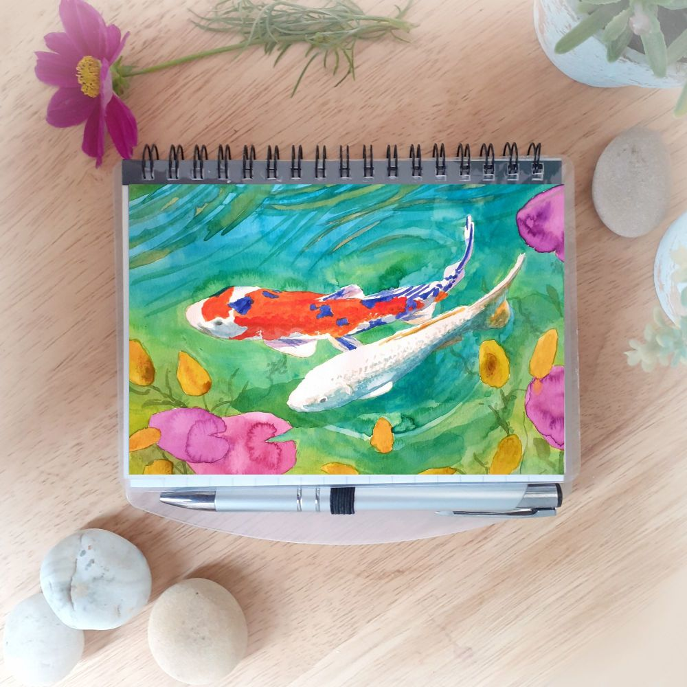 Two Koi Notebook and Silver Pen