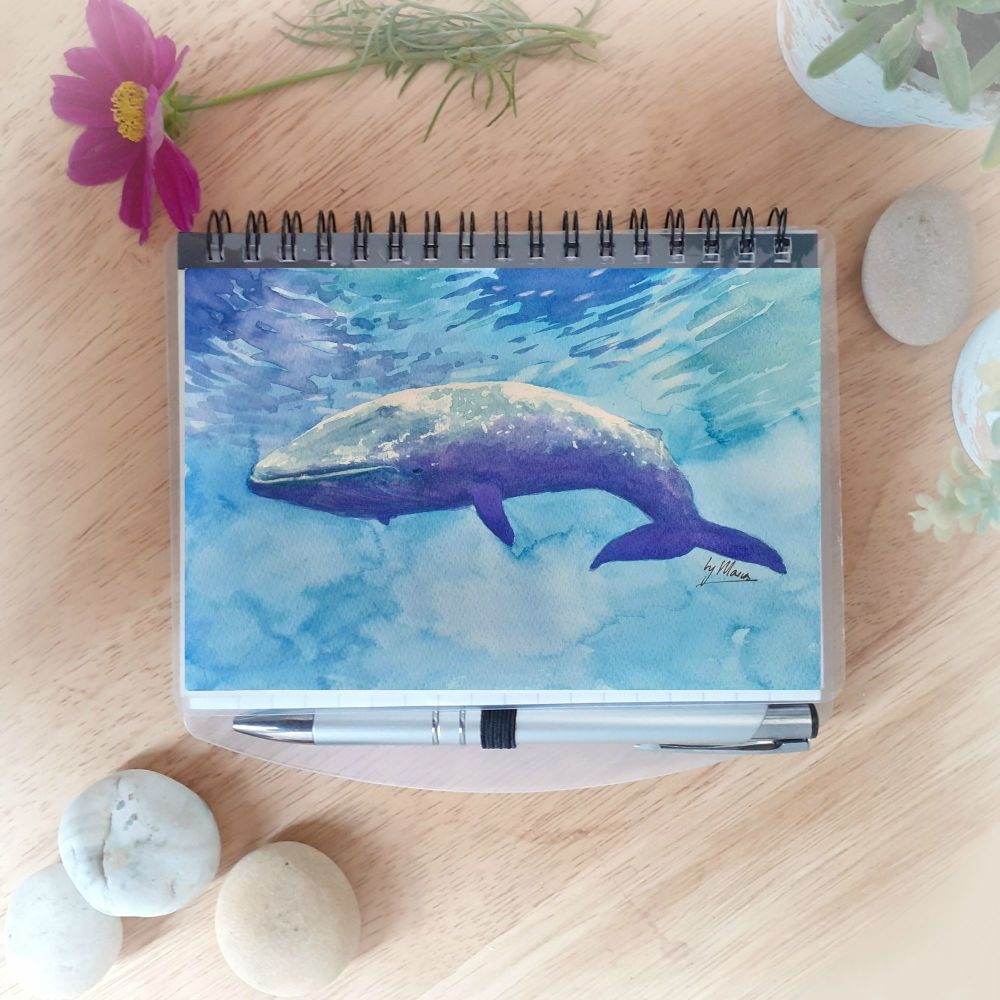 Blue Whale Notebook with Silver Pen
