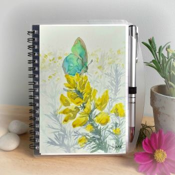 Green Hairstreak Butterfly on Gorse Notebook and Silver Pen