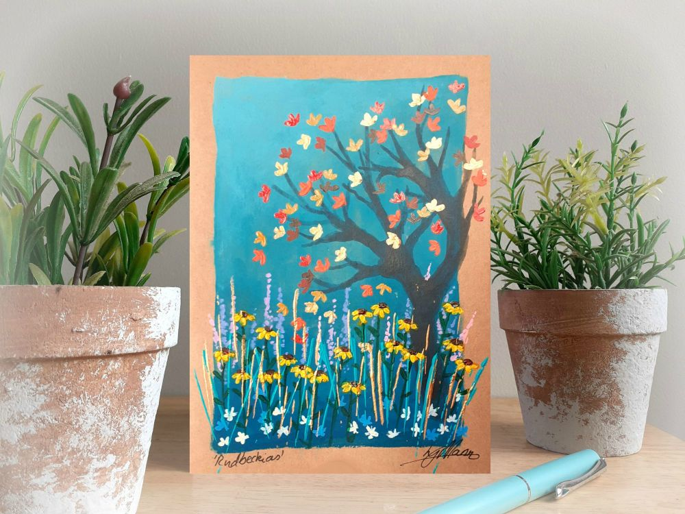 rudbeckias hand painted card