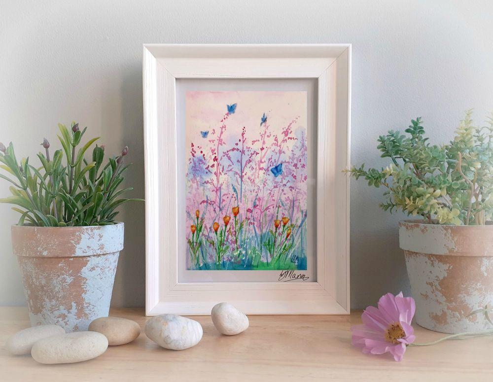 Pink Grass Framed Gift Print