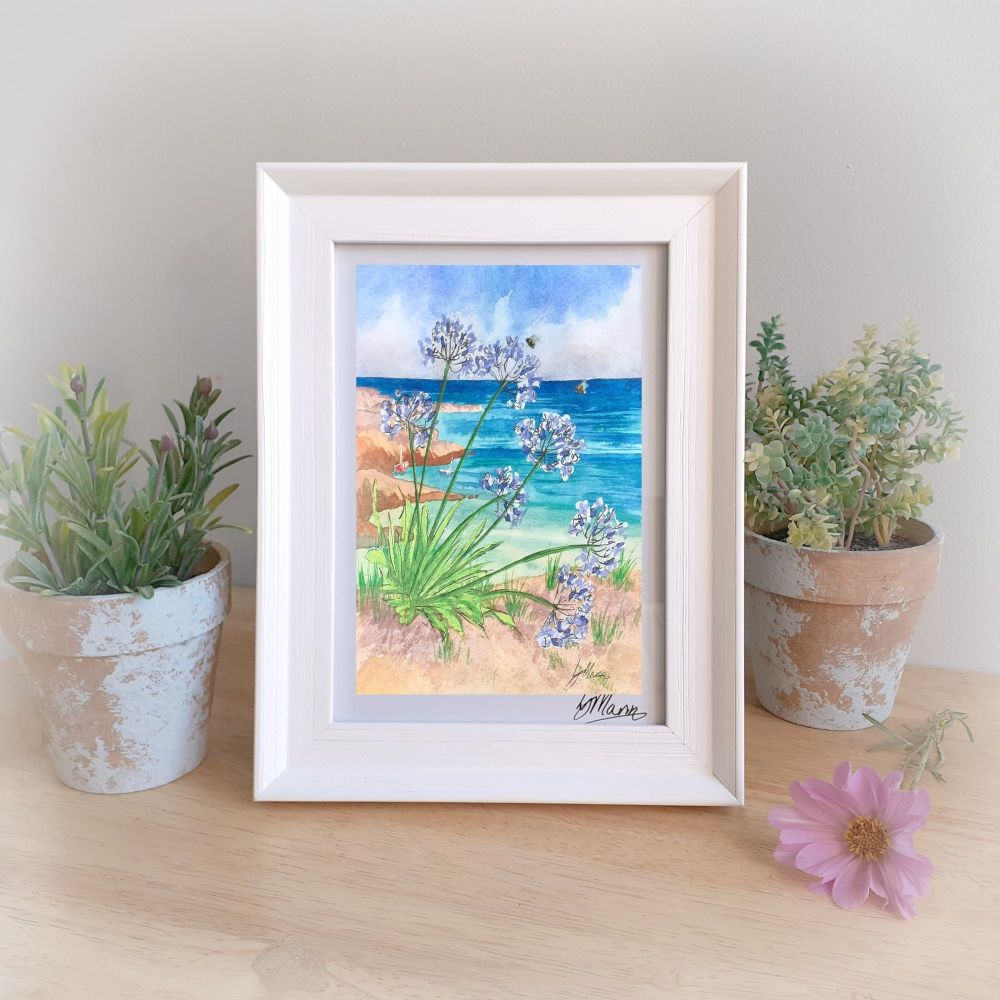 Agapanthus by the Sea Framed Gift Print